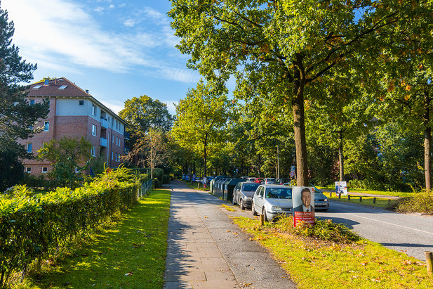 Footpath between green trees and houses in Hamburg-Niendorf